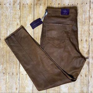 NYDJ 16W Plus Sheri Skinny Jeans Brown Sleek Look